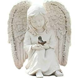 Little Cherub Angel and Robin 6 x 6-inch Resin Stone Garden Statue Figurine