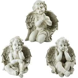 Northlight Set of 3 Sitting Cherub Angel Decorative Outdoor Garden Statues 11